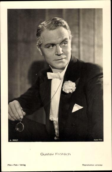 Ak Schauspieler Gustav Fröhlich, Portrait, Monokel