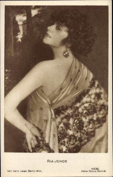 Ak Schauspielerin Ria Jende, Portrait