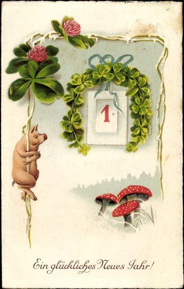 Ak Glückwunsch Neujahr, Schwein, Kalenderblatt 1, Fliegenpilze, Kleeblätter