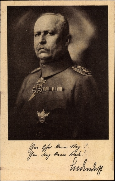 Ak General Erich Friedrich Wilhelm Ludendorff, Portrait, Uniform, Orden, RPH