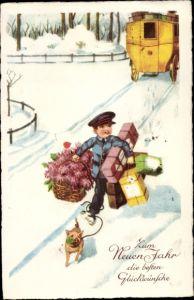 Ak Glückwunsch Neujahr, Paketbote, Geschenke, Blumen, Schwein, Postkutsche