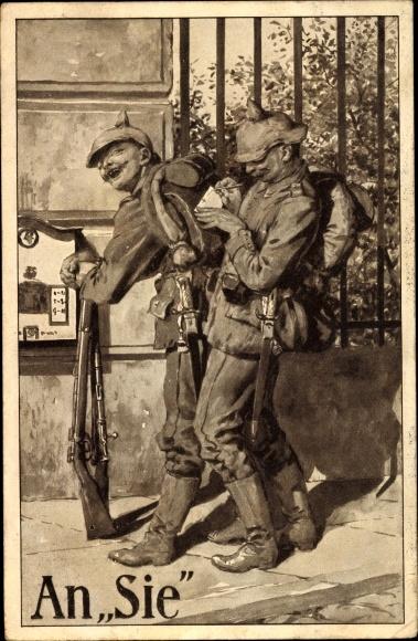 Künstler Ak An Sie, zwei deutsche Soldaten, Uniformen, Briefkasten, Pickelhauben