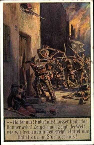 Lied Ak Hey, Paul, Unsere Feldgrauen, Soldatenliederpostkarte No. 9, Novitas 20735, Haltet aus