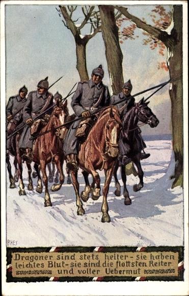 Lied Ak Hey, Paul, Dragoner sind stets heiter, Soldatenliederpostkarte Nr. 10, Unsere Feldgrauen
