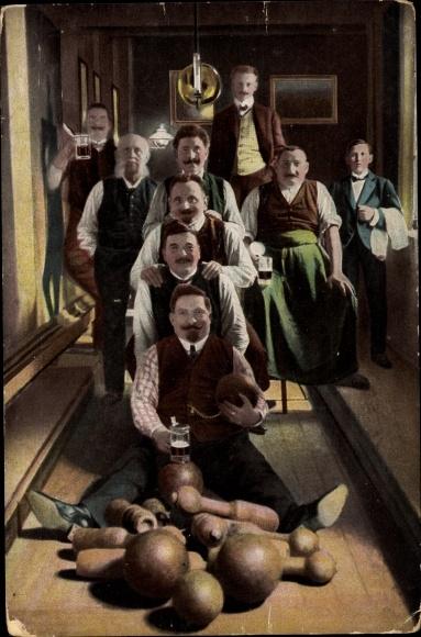 Ak Männer auf der Kegelbahn, Biergläser, RKL Serie 787