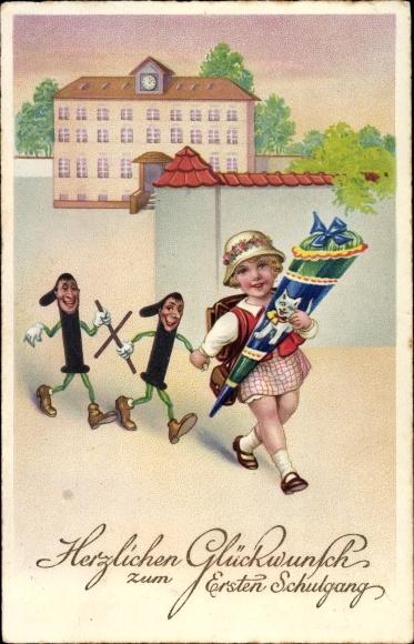 Ak Glückwunsch Einschulung, Mädchen, Zuckertüte, Einsen mit Gesichtern, EAS M 1649