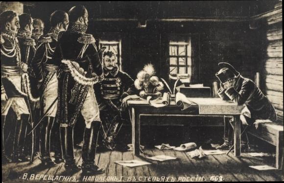 Künstler Ak Napoleon und Offiziere, Karten
