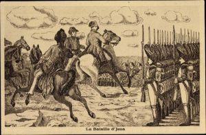 Künstler Ak Jena in Thüringen, La Bataille d'Jena, Napoleon
