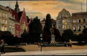 Ak Lübeck in Schleswig Holstein, Geibel Denkmal
