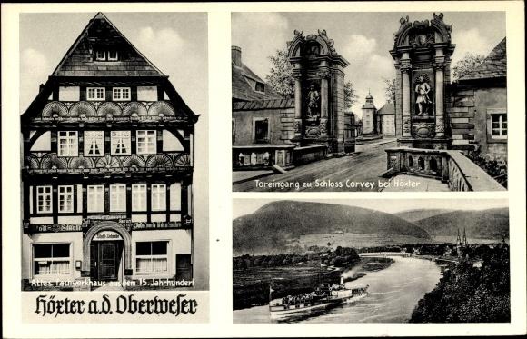 Ak Höxter, Toreingang Schloß Corvey, Fachwerkhaus