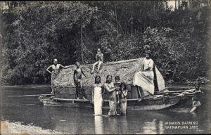 Ak Ceylon Sri Lanka, Ratnapura Lake, women bathing