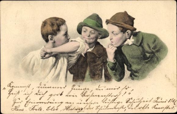 Künstler Ak Drei Jungen, Portrait