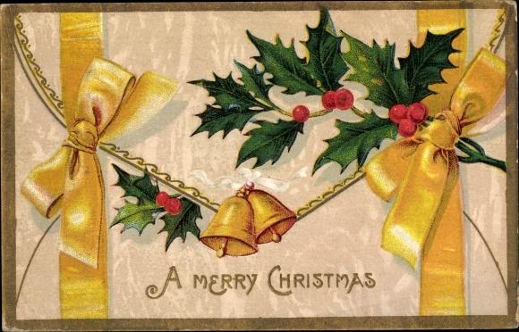 Präge Ak Frohe Weihnachten, Merry Christmas, Glocken, Stechpalmen
