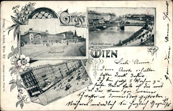 Ak Wien 1. Innere Stadt Österreich, Parlament, Kärntnerring, Franz Josef Quai