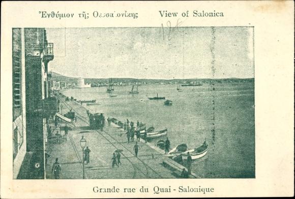 Ak Thessaloniki Griechenland, Grande rue du Quai
