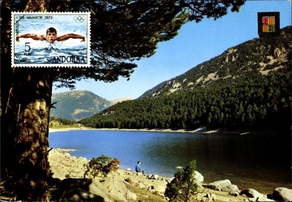 Briefmarken Ak Andorra, Lac d'Engolasters, vue panoramique, rive, collines, blason