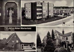 Ak Marienfeld Harsewinkel Nordrhein Westfalen, Kirche, Wohnblock, Geschäft, Statue