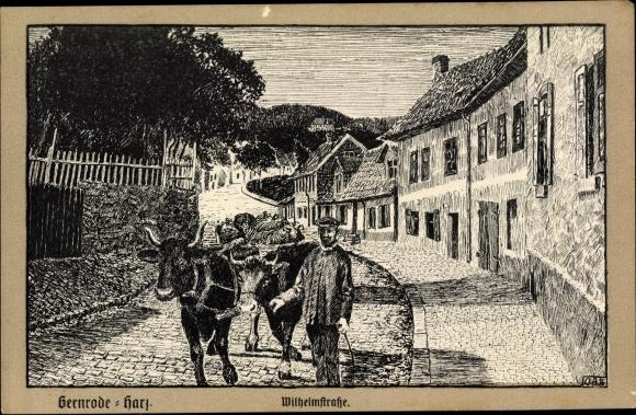 Künstler Ak Gernrode Quedlinburg im Harz, Wilhelmstraße, Bauer mit Ochsenkarren, Kopfsteinpflaster