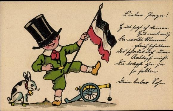 Künstler Ak Patriotik I. WK, Junge mit Flagge, Kanone, Spielzeughase, Gedicht