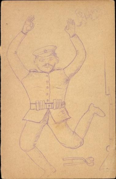 Handgemalt Ak Soldat in Uniform, Gewehr, Bajonett, Zange