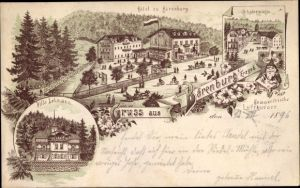 Litho Bärenburg Altenberg im Erzgebirge, Hotel, Schäfermühle, Villa Lehmann