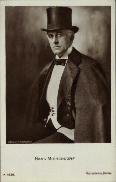 Ak Schauspieler Hans Mierendorf, Portrait, Zylinder, PH K 1836