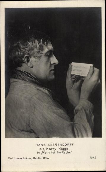 Ak Schauspieler Hans Mierendorf, Portrait als Harry Higgs, Mein ist die Rache