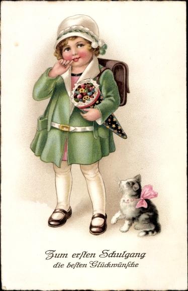 Litho Glückwunsch Einschulung, Mädchen, Zuckertüte, Katze