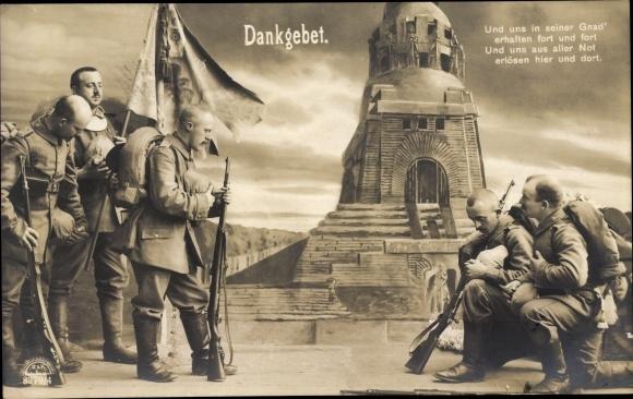 Ak Dankgebet, Und uns in seiner Gnad', betende Soldaten, RKL 8279 4