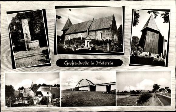 Ak Großenbrode in Ostholstein, Brunnen, Kirche, Brücke