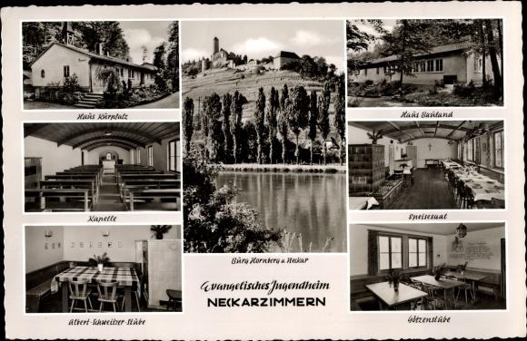 Ak Neckarzimmern im Neckar Odenwald Kreis, Evangelisches Jugendheim, Burg Hornberg