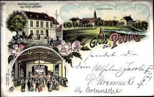 Litho Pechau Magdeburg in Sachsen Anhalt, Gasthof zur Eiche, Gesamtansicht