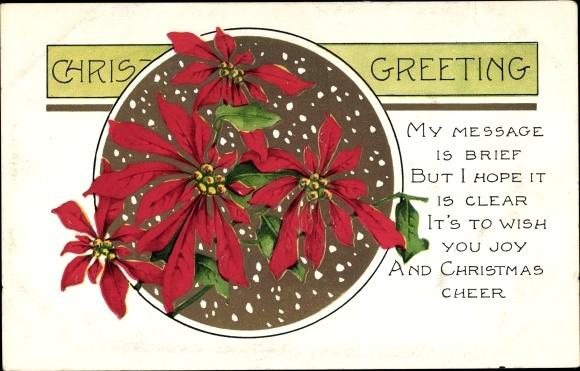 Präge Gold Litho Frohe Weihnachten, Weihnachtsstern, Blumenblüten, Schnee