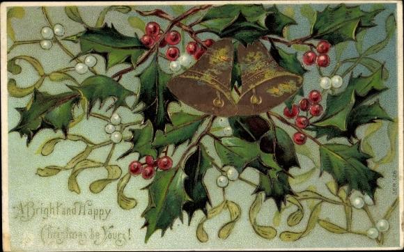 Präge Gold Ak Frohe Weihnachten, Glocken, Stachelpalme, Misteln