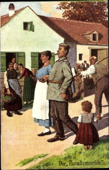 Künstler Ak Der Parademarsch, Immer Fachmann, Dorf, Soldat m. Ehefrau, Bewohner