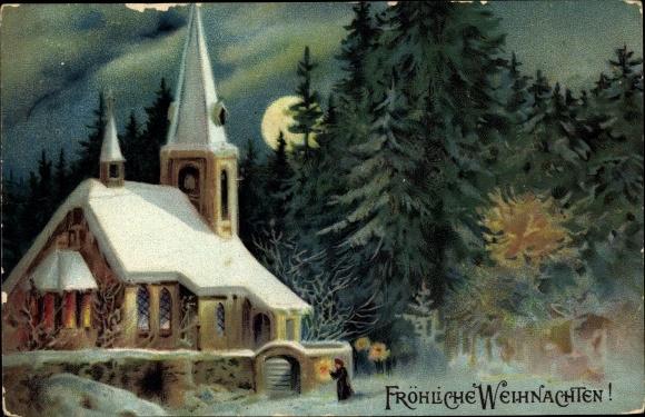 Präge Ak Frohe Weihnachten, Kirche, Winterwald, Mond