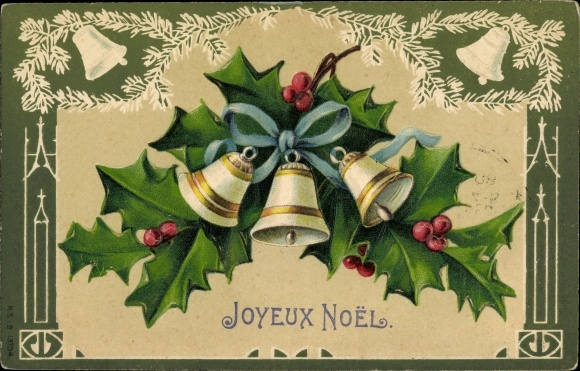 Präge Ak Frohe Weihnachten, Glocken, Stechpalmen