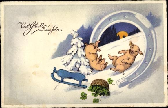 Ak Glückwunsch Neujahr, Hufeisen, Schweine, Schlitten, Klee