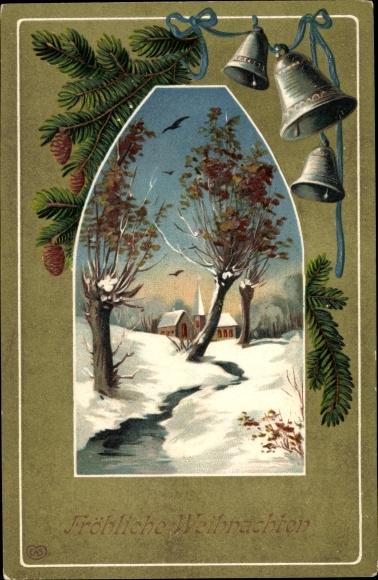 Präge Ak Frohe Weihnachten, Glocken, Winterlandschaft