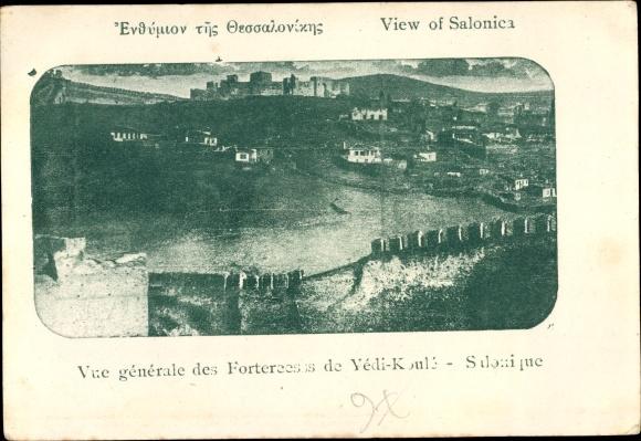 Ak Thessaloniki Griechenland, Vue générale des Forteresses de Yédi Koulé