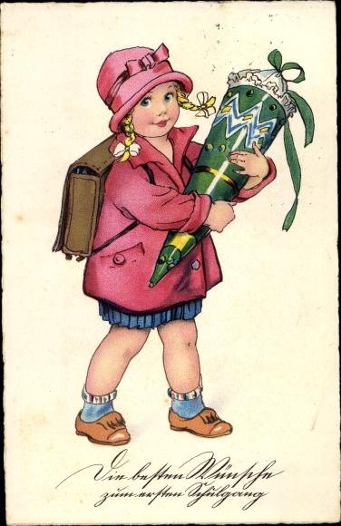 Ak Glückwunsch Einschulung, Mädchen, Zuckertüte