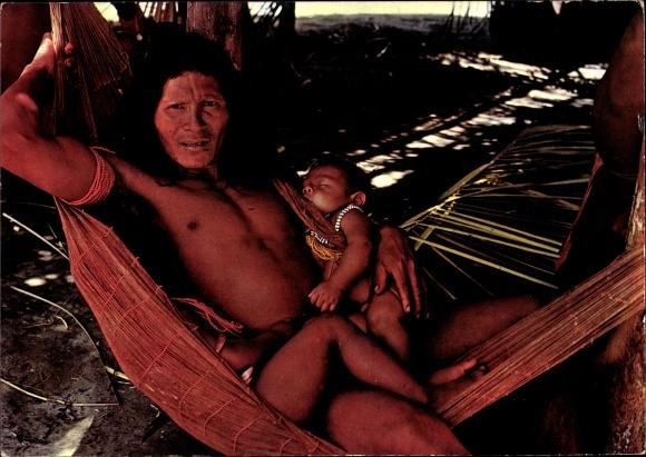 Ak Guyane Francaise Französisch Guayana, Haut Itany, Indien Wayana, homme, enfant