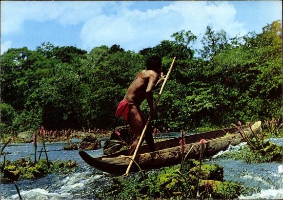 Ak Guyane Francaise Französisch Guayana, Indien Wayana dans les rapides, canot