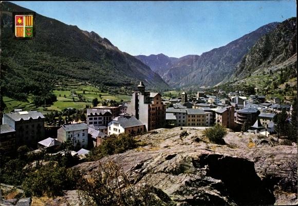 Ak Roche des Bruges Andorra, vue partielle, vallée, blason