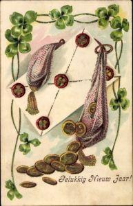 Präge Ak Gelukkig Nieuwjaar, Glückwunsch Neujahr, Kleeblätter, Goldmünzen