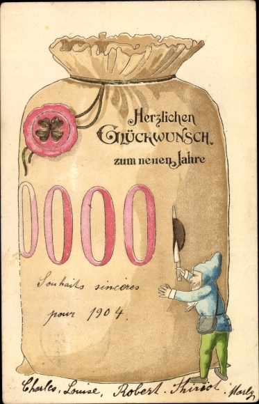 Präge Ak Glückwunsch Neujahr Geldsack, Zwerg, Kleeblatt