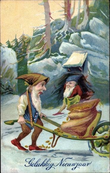 Ak Gelukkig Nieuwjaar, Glückwunsch Neujahr, Zwerge, Goldmünzen, Schubkarre