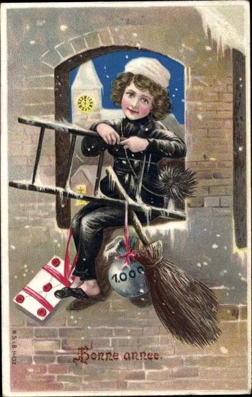 Präge Ak Bonne Année, Glückwunsch Neujahr, Schornsteinfeger, Geldsack