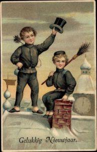 Ak Gelukkig Nieuwjaar, Glückwunsch Neujahr, Schornsteinfeger