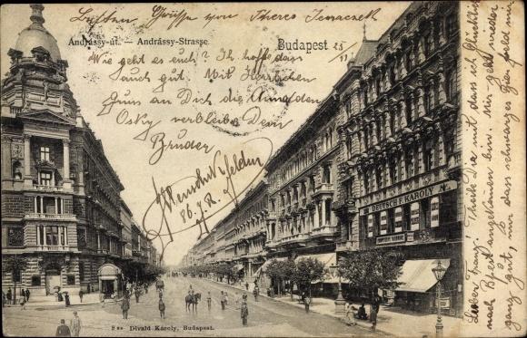 Ak Budapest Ungarn, Andrássy Straße, Deutsch F. Karoly